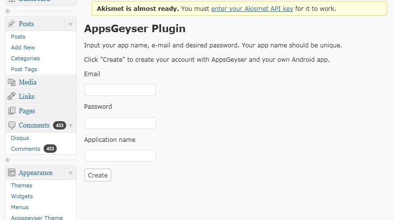 wordpress plugin appsgeyser