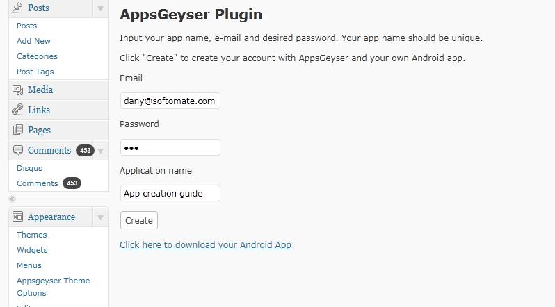 set up appsgeyser plugin