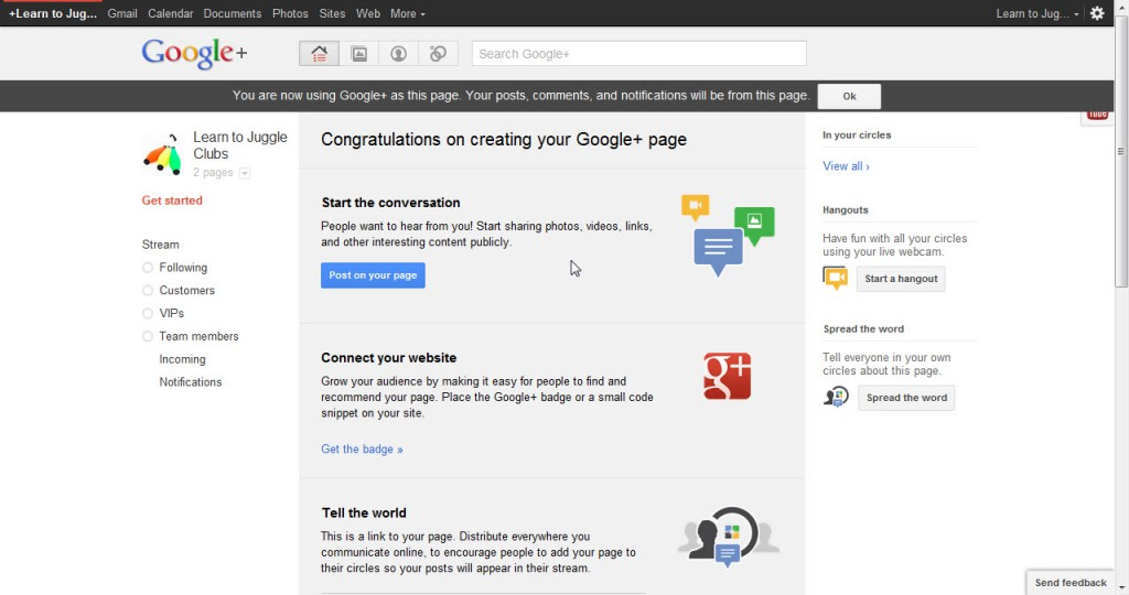 Start the conversation on your Google Plus business page
