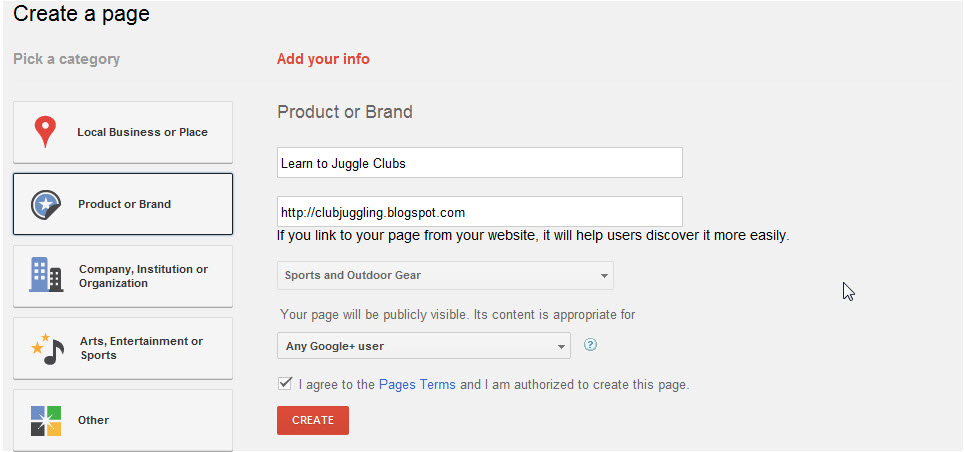 Google+ Page - add your info