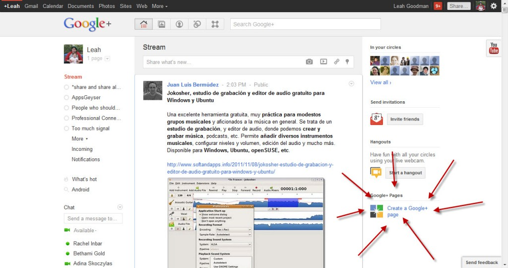 Create a Google+ page for apps