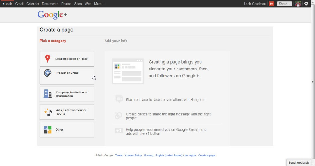 Google Plus page - Category?