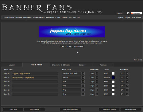text and fonts bannerfans