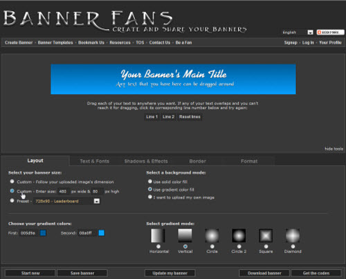 step 2 - select custom banner size
