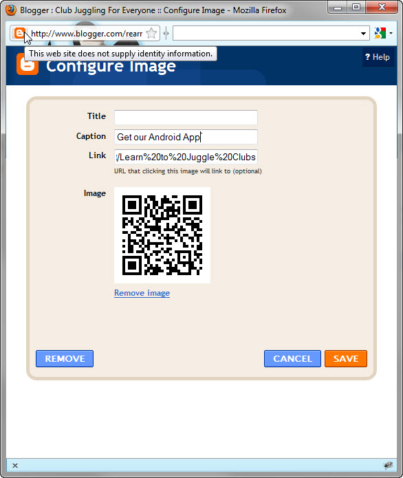 paste the link address into blogger