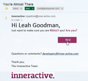 step 3- inneractive confirmation email