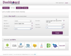 step 4- inneractive Dashboard - Create new App ID