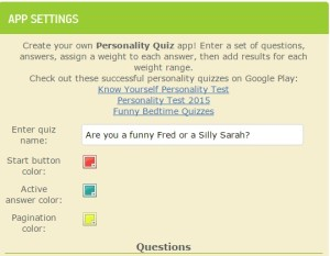 basic settings for personality quiz