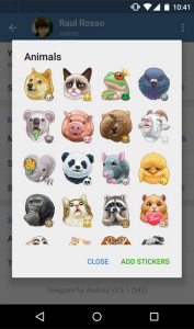 send stickers in instant messaging application