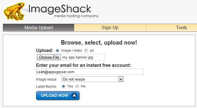 upload image to imageshack