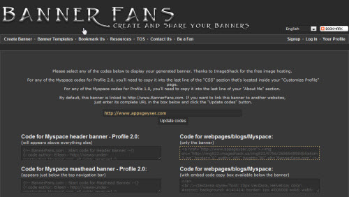 take the banner code for webpages blogs myspace