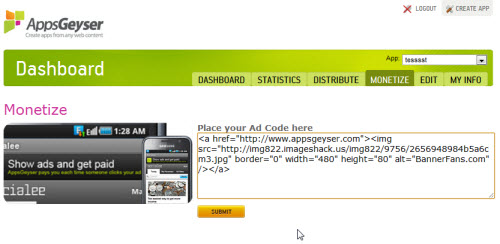 paste banner code in app monetize tab