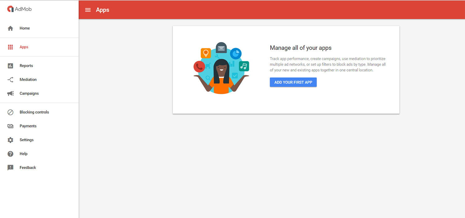 add the first app to admob