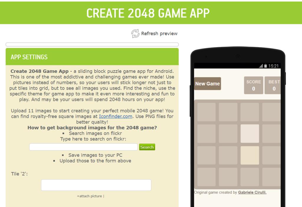 create 2048 game app