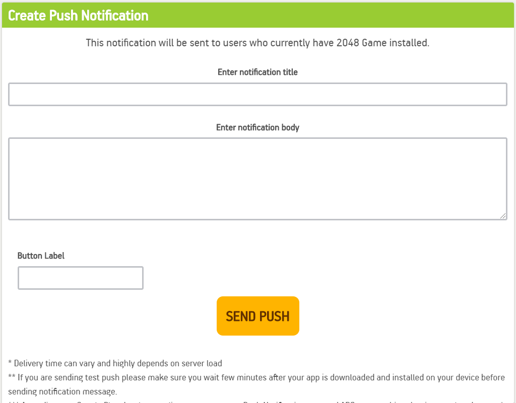 write the text for android push notification