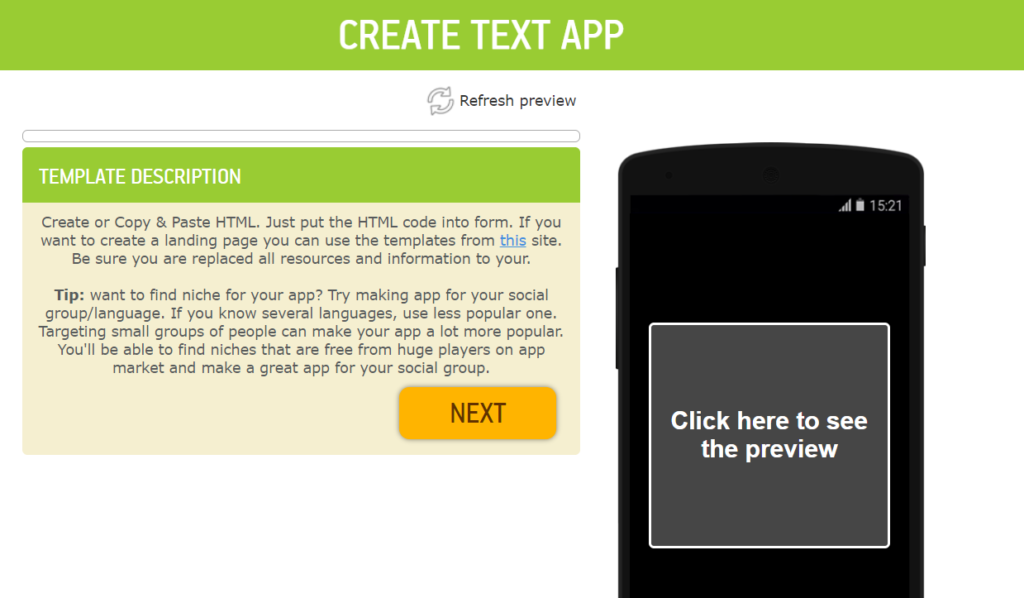 create android app from html code