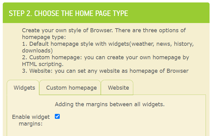 choose home page type