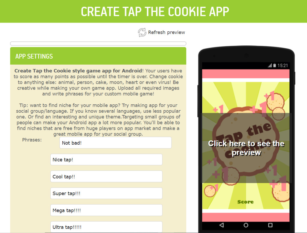 Make a Cookie Clicker Android