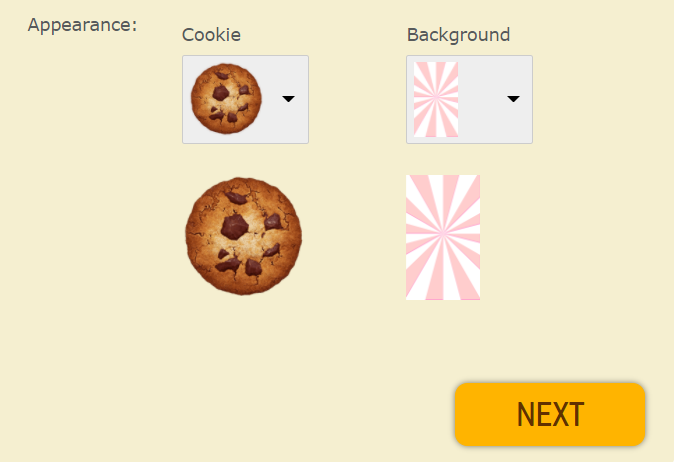 Customize appearance for a Cookie Clicker Android game