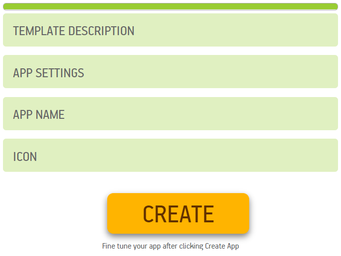 click on create to make an ebook app