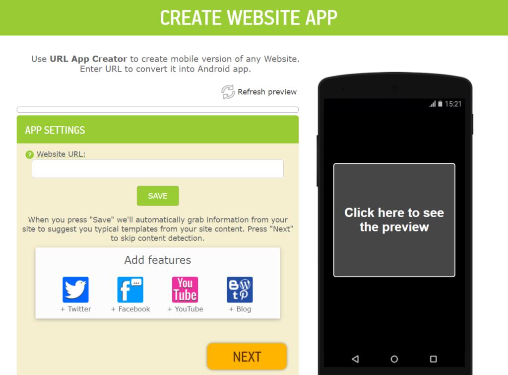 open app template to convert website to an app