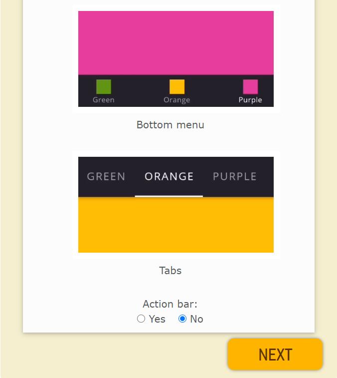customize menu of the website app