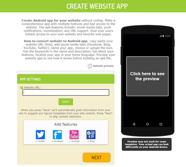 website app template