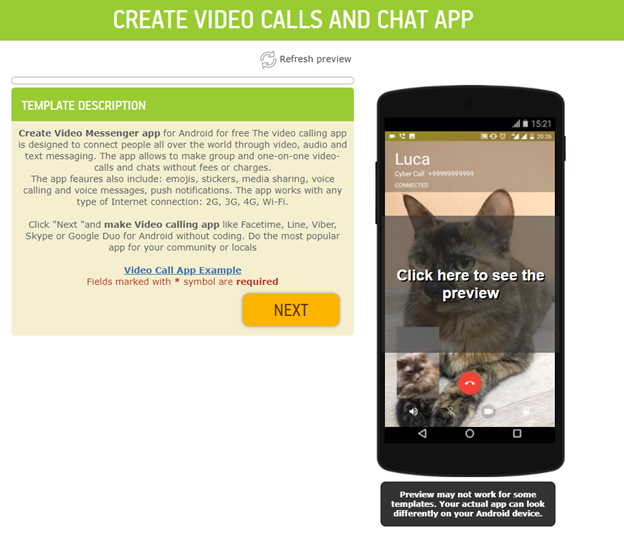 video calls app template