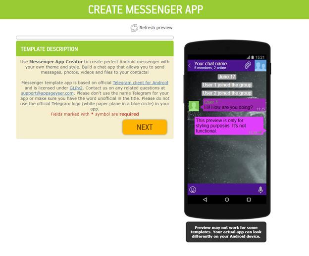 messenger app template