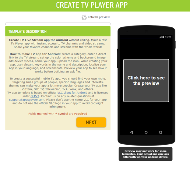 mobile tv player app template