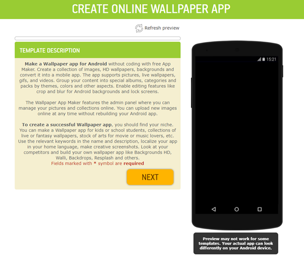 make a wallpaper app for android