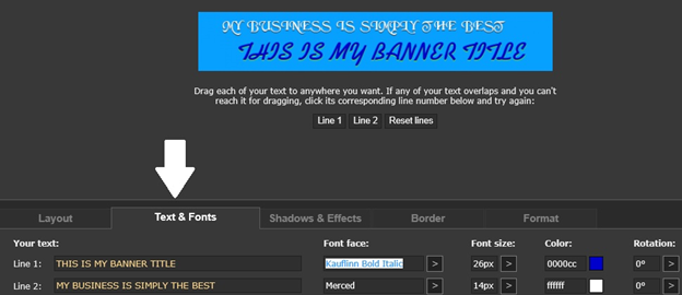 add text and image for the banner