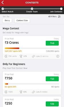 dream 11 contest screen